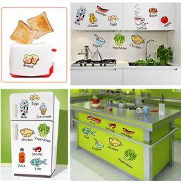 Graphisme de magasin d'autocollants en Ligne-Caricature De Cuisine De Bande Dessinée Réfrigérateur Décoration Sticker Accueil Art Mural Décor Autocollant Magasin Fenêtre Papier Peint Graphique