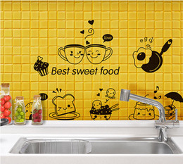 Tiles Design For Kitchen Wall Canada - Cartoon Best Sweet Food Wall Art Mural Decor Kitchen Tile Cabinet Refrigerator Decal Poster Graphics Coffee Bread Wallpaper Decal