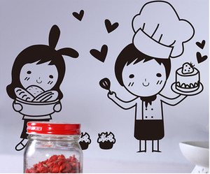 Wholesale tile decals for kitchen for sale - Group buy Cartoon Lovely Baker Wall Art Mural Decor Funny Restaurant Kitchen Tile Cabinet Refrigerator Decal Poster Graphic I love Bread Wall Quote