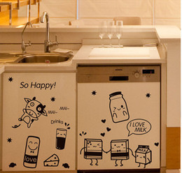 Tiles Design For Kitchen Wall Canada - Cartoon Happy Cooking Art Mural Decor Poster Kitchen Tile Cabinet Refrigerator Decal Sticker Sponge Baby Milk Kitchen Wallpaper Graphic