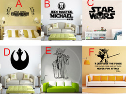 Wholesale Kids Letter Stickers - Darth Vader Star Wars Wall Art Decal Sticker Boys Bedroom Decor Poster Wallpaper Stickers Letter Star Wars Wall Art Mural Home Decoration