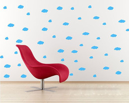 Art Wall Decor Stickers Canada - Blue White Pink Flying-cloud Art Mural Decor Sticker Living Room Bedroom Wall Decal Poster Home Art Wallpaper Graphic