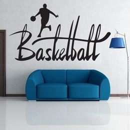 Wholesale Large Baskets Wholesale - Monogram Basketball Art Mural Decor Sticker Basketball Star Playing Basket Wallpaper Graphic Living Room Bedroom Wall Applique Poster