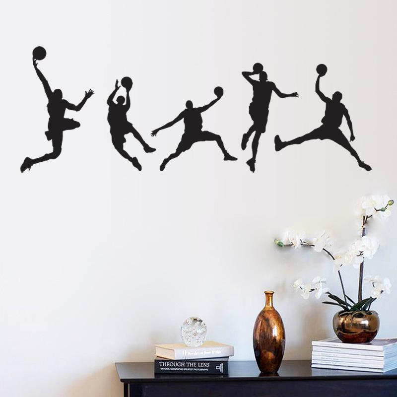 Basketball match wall art mural decor home decoration for Basketball mural wallpaper