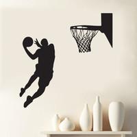 спортивные украшения для мальчиков оптовых-Стрелять в корзину стены искусства настенной росписи декор украшения дома обои наклейка Спорт мальчики детская комната искусство плакат графический