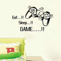 China Eat Sleep Game Wall Quote Decal Sticker Cartoon Joystick Gamepad Wall Art Mural Decor Poster Creative Boys Room Graphic Wall Applique suppliers
