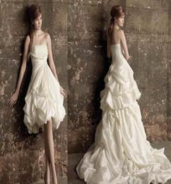 Wholesale Vintage Black Taffeta Skirt - 2016 New Unique design Detachable skirt Strapless Handmade flowers Ruffles A-Line Taffeta Wedding Dresses Bridal Gowns Lace up Custom Made
