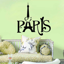 Wholesale Paris Wall Decals - Black English Words Paris' Tower Wall Art Mural Decor Transform Wall Decal Sticker Living Room Bedroom Wall Decoration Paper Graphic