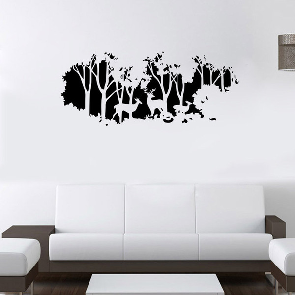 Extra Large Deer In The Forest Wall Art Mural Decor Living Room Bedroom Home Decal Wallpaper Poster Art Applique Decor 58 X 126cm Decals Wall Stickers
