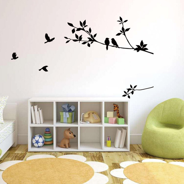 Birds On The Black Tree Branch Wall Decal Sticker Living Room Bedroom Wall  Art Mural Decor