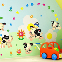 calcomanías de pared de impresión animal para vivero al por mayor-Historieta del perrito y su pata de pared Arte Mural Decoración Flores Happy Dog Wallpaper Decal Niños Parvulario decoración de la pared apliques