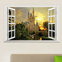 Wholesale Decorative View Window - 3D Window View Wall Art Mural Decor Castle Orchard of Harvest Lane in Forest Wallpaper Decorative Applique Poster Graphic