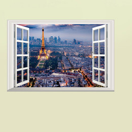 Hallway Wall Stickers UK - The Scenery out of the Window Wall Art Decal Sticker 3D Window View Wallpaper Decor Poster Living Room Bedroom Hallway Decorative Graphic