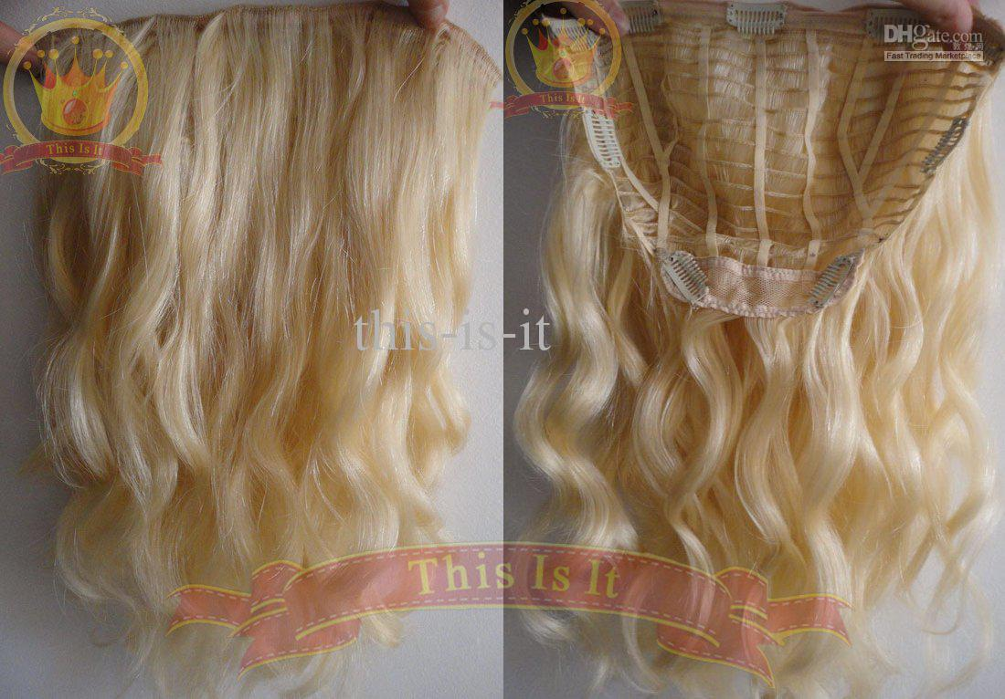 18 Blonde One Pcs Hair Extensions Clip In Wavy 613 100 Human