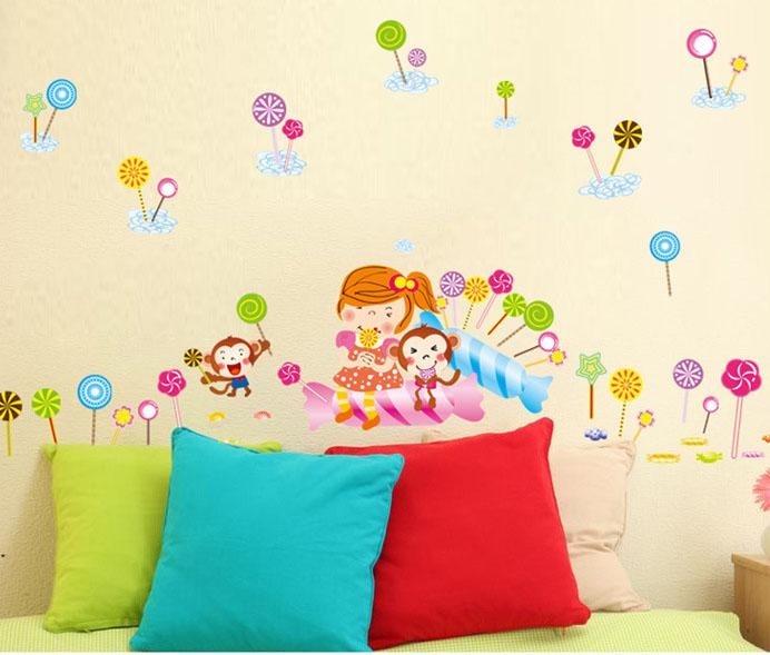 Cartoon Monkey Little Girl Lollipop Wall Art Mural Decor Romantic Kids Boys Girls  Nursery Wall Decal Sticker The Taste Of Lollipop Wallpaper Wall Clings ... Part 73