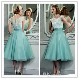 Wholesale Tea Length Retro Tulle - Tea Length Evening Dresses 2015 Mother Dresses Scoop Lace Ruffled Organza A-Line Ball Gowns Retro Evening Gowns Wedding Party Dresses Long