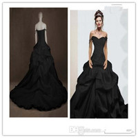 Wholesale Strapless Fold Wedding Dress - The latest 2016 actual image black prince gothic wedding dress lace fold a strapless sexy dress Victoria