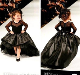 Wholesale Show Girls Dresses - Black Little Girls Pageant Gowns Elastic Satin Tulle Hi-Lo Long Sleeves Fashion Show Jewel Sheer Neck Flower Gilrs Dresses