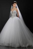 Wholesale Sexy Swetheart Lace - 2016 fine Swetheart dress lace wedding dress train line of crystal beads church white dress the bride Wedd