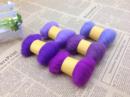 Wholesale Diy Felt Fabric - COLOR-PURPLE ,5 colors*5g ,wool felt,Handmade diy material poke fun wool strip wool felt