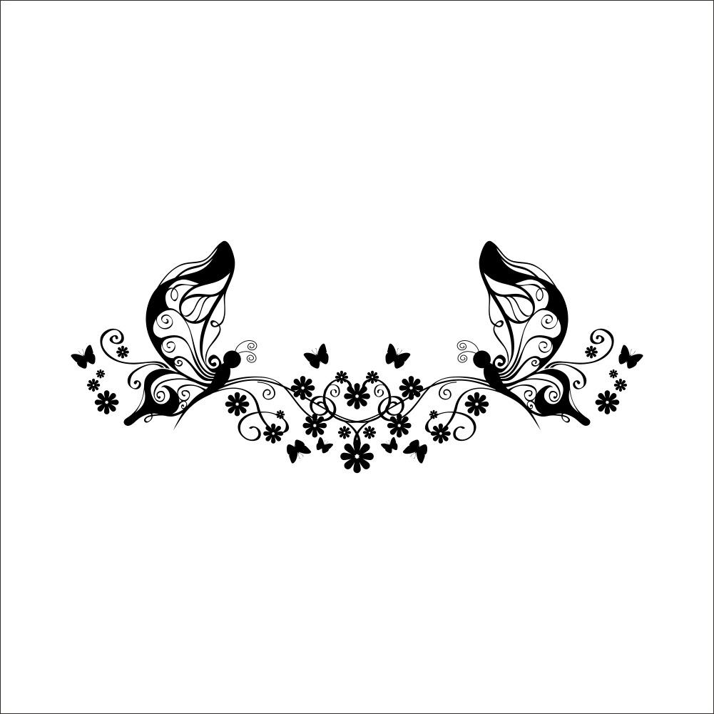 Butterfly Flower Vine Wall Art Decal Sticker Butterfly Fairy Wall Art Mural  Decor Living Room Bedroom Tv Background Wall Decoration Applique Damask Wall  ... Part 80