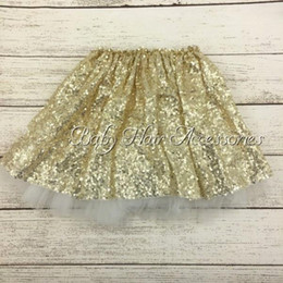 Wholesale Customs Dance - Gold Sequin Tutu Skirts Girls Sparkle Silver Pink Baby Toddler Long Tulle Princess Dance Wear 5pcs lot