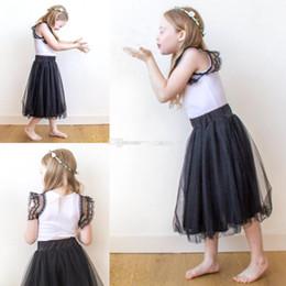 Wholesale Kids Short Skirt Fashion - Tea Length Black Tulle Skirts For Girls Kids Children Custom Made Fashion Tutu Pettiskirts For Flower Girls Dresses