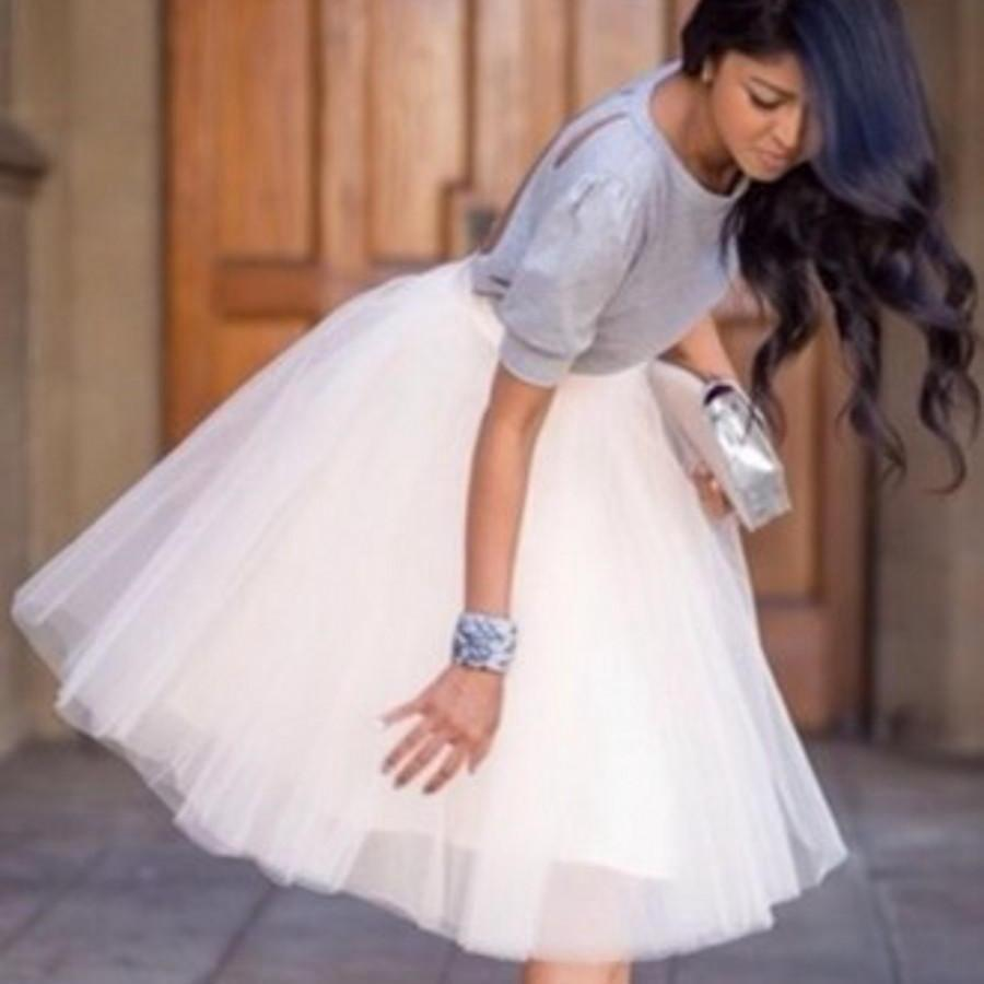 White tulle knee length bridesmaid dress short tutu skirt semi white tulle knee length bridesmaid dress short tutu skirt semi formal dress skirt for maid of honor dresses custom color and size overskirts dresses for ombrellifo Gallery