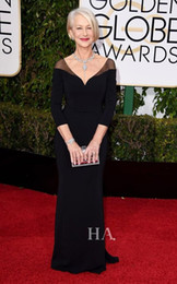 Wholesale Helen Mirren Red Carpet Images - Black Chiffon V-Neck Formal Dresses Helen Mirren Wear The 73rd Golden Globe Awards 2016 Sheath Party Gowns 3 4 Long Sleeves Evening Dress