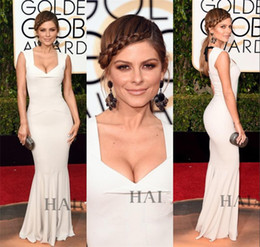 Wholesale Maria Menounos Dresses - 2016 Golden Globe Awards Celebrity Dresses Maria Menounos Sexy White Cheap Red Carpet Formal Dresses Evening Gowns Prom Party Dresses