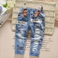 Wholesale High Waist Jeans For Kids - Baby Clothes Jeans For Boys Kids Pants Wholesale Spring Autumn Fashion Elastic Waist Straight Trousers High Quality Hot Sale Free Shipping
