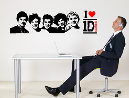 Wholesale One Direction Wall Sticker - 1D Wall Decal Sticker Home Decor Art Mural Poster Graphic One Direction Rock Roll fan Wall Applique Sticker Room Decoration Art Graphic