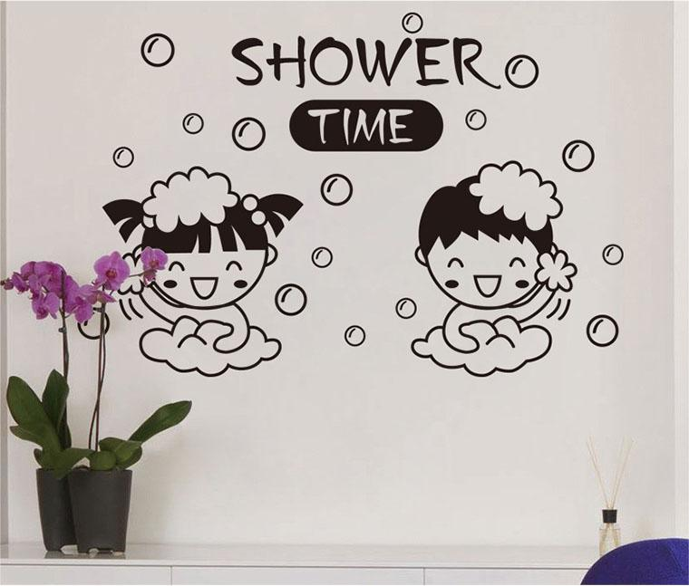 Bathroom Symbol Wall Art Mural Decor Sticker Cute Girl Boy Bubble Shower  Time Wall Decal Poster Washing Room Wall Applique Graphic Large Childrens  Wall ... Part 46