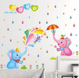 Wholesale Kids Rain Wall Stickers - Cute Elephant We are in Love Wall Quote Decal Sticker Colorful Rain Drop Wall Art Mural Decor Poster Kids Room Nursery Wall Graphic