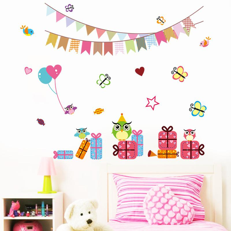 Owls Birds Butterfly Gift Box Festival Decoration Wall Art Mural Decal Sticker Kids Room Nursery Wall Poster Birthday Wall Applique Decor