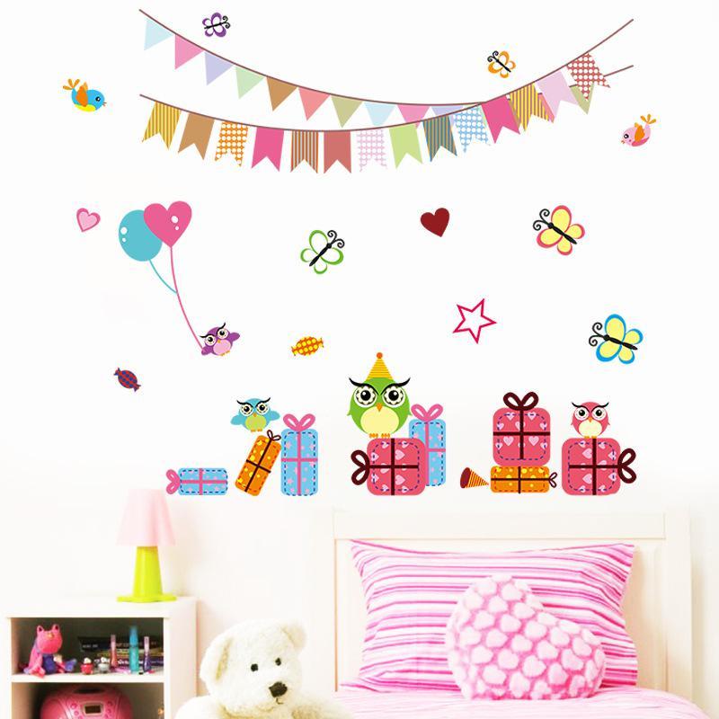 Owls Birds Butterfly Gift Box Festival Decoration Wall Art Mural Decal Sticker Kids Room Nursery Wall Poster Birthday Wall Applique Decor