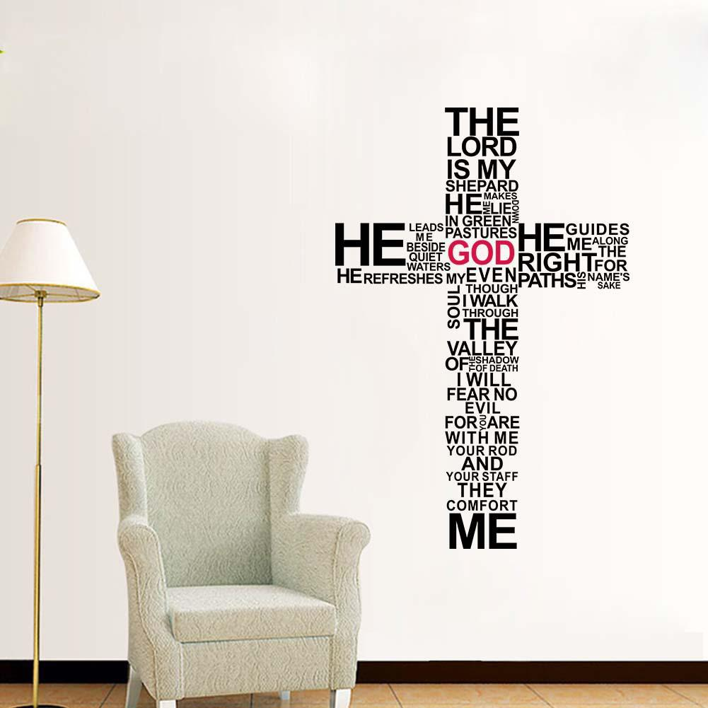 The Lord Wall Quote Decal Sticker English Words Cross Wall Art Mural Decor  Poster Bedroom Living Room Background Wall Applique Large Wall Art Stickers  Large ... Part 61