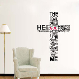 Word Art Posters Canada - The Lord Wall Quote Decal Sticker English Words Cross Wall Art Mural Decor Poster Bedroom Living Room Background Wall Applique