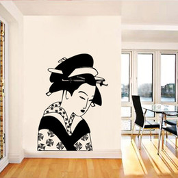 Wholesale japanese mural - Japanese Ancient Female Art Wall Decal Sticker Japanese Girl Mural Wall Applique Poster Home Decor Wallpaper Living Room Bedroom Wall Tattoo