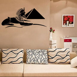 Wholesale Abstract Art Tattoos - Sphinx Wall Art Mural Poster Ancient Egypt Treasure Wall Decal Sticker Living Room Bedroom Artistic Decoration Wall Tattoo Wall Applique
