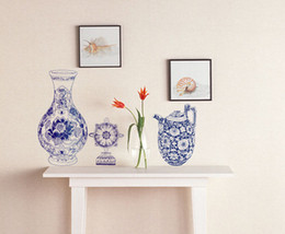 Wholesale Chinese 3d Posters - 3D Stereo Flowers Vase Watering Pot Wall Decal Sticker Chinese Style china Wall Art Mural Poster Classic Porcelain Composition Wallpaper Art