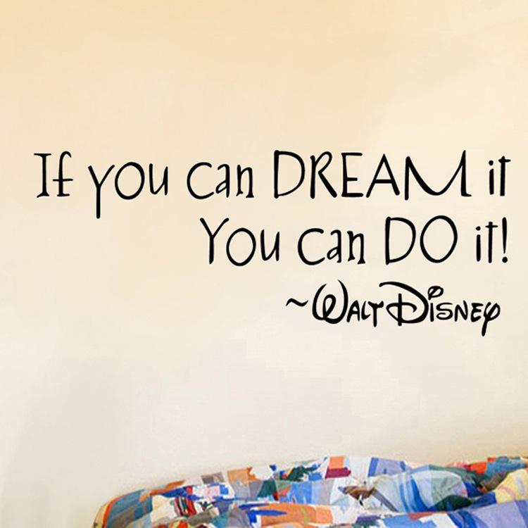 If You Can Dream It You Can Do It Wall Quote Decal Sticker English Proverb  Wall Art Mural Decor Living Room Bedroom Inspiration Wall Graphic Space Wall  ... Part 86