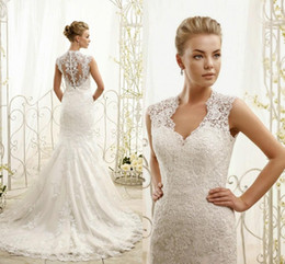 Wholesale Eddy K - Exquisite Eddy K ADK Mermaid Wedding Dresses 2016 Full Lace Bridal Gown with Covered Button Sheer Back Appliqued Wedding Gowns Floor Length