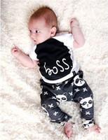 Wholesale Children Panda Suit - Baby Boy fashion INS panda 2pcs Suit 2016 new children Short sleeve T-shirt+ trousers 2 pcs cartoon printing Suit baby clothes