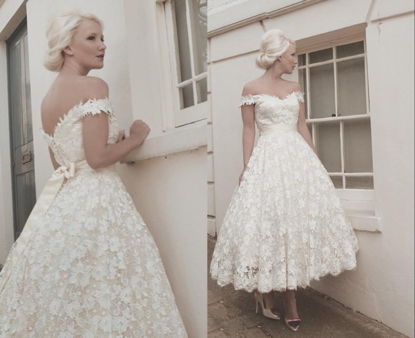Discount 2016 Full Lace Wedding Dresses Custom Size Calf