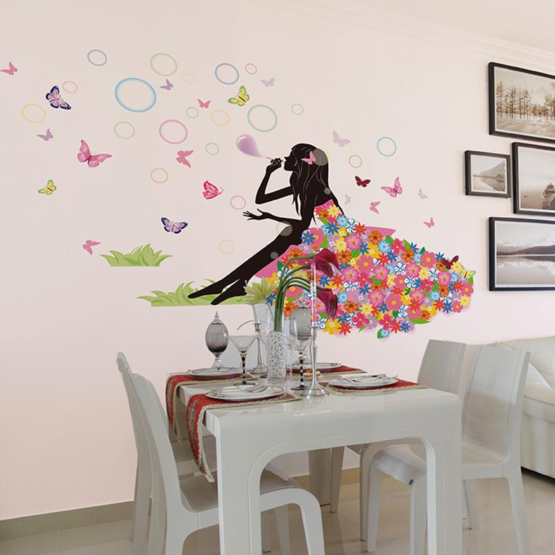 Flower Fairy On Grassland Wall Decal Sticker Colorful Dress Girl Wall Art  Mural Poster Blowing Bubble Beauty Sofa Headboard Wall Applique Wall  Stickers And ...