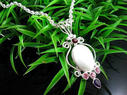 Wholesale Silver Multi Gem Necklace - Superb 925 Silver Pure white Moonstone Gemstone artisan Necklace fit multi crystal gems