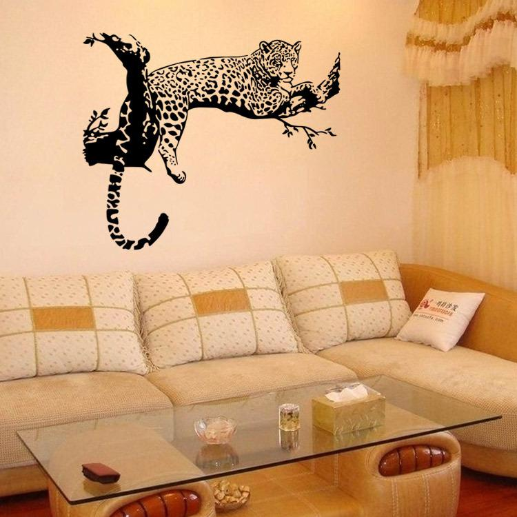 Compre Leopard On Tree Wall Art Mural Decor Sala De Estar Dormitorio ...