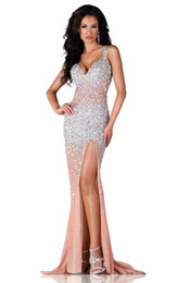 Wholesale Eveving Dresses - 2016 Newest Hot sale Split Eveving dress spaghetti strap Beaded Crystals nude Back Evening Gowns Long Prom Dress front side party dress