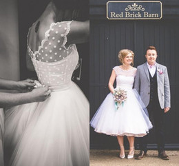 Wholesale Tea Length Polka Dot Dress - Vintage 1950's Style Polka Dotted Short Wedding Dresses Tea Length Little White Dresses 2016 Vestidos de Novia Beach Bridal Gowns